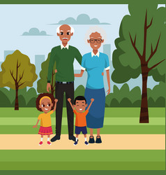 Cartoon old couple with kids vector