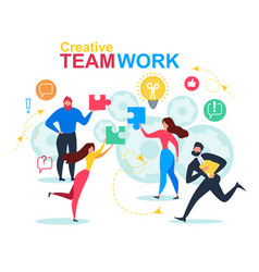 cartoon people puzzle element creative teamwork vector image