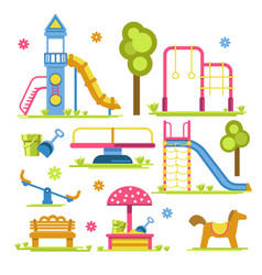 children playground slide and sandbox seesaw and vector image