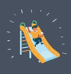 children playing on slide vector image
