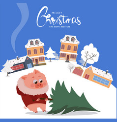 christmas pig with new year tree vector image