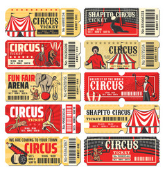 Circus chapiteau carnival show ticket templates vector