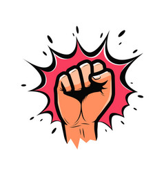 Clenched fist held high in protest strength vector