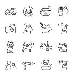 collection pet care line icon vector image