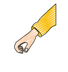Color crayon silhouette hand of symbol of giving vector