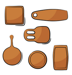 Color image a set kitchen cutting boards in vector