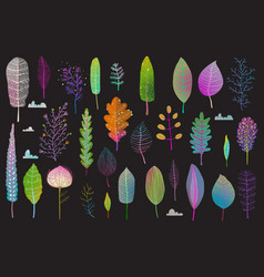 colorful leaves design collection on black vector image