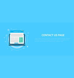 Contact us page in computer banner vector