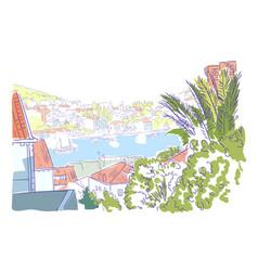 croatia panorama sketch dubrovnik watercolor art vector image