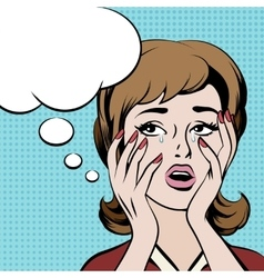 Crying frustrated woman with empty speech bubble vector