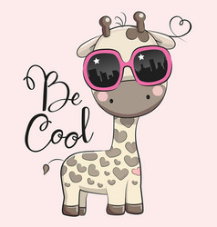 Cute giraffe with sun glasses vector