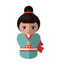 Cute kokeshi doll traditional costume japanese vector