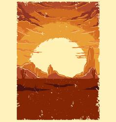 desert landscape vintage colorful template vector image