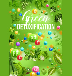 Detox color diet poster with green day food menu vector