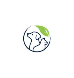 dog cat pet leaf logo icon illustration vector image