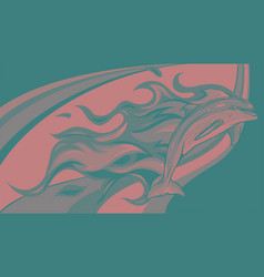 Dolphin jumping with flames vector