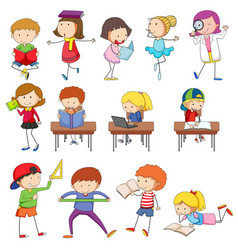 Doodle kids character learning set vector