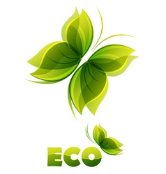 Eco logo - two green butterflies vector