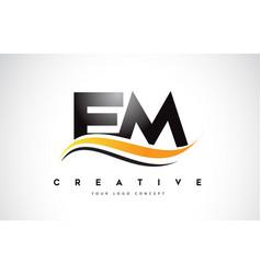 Em e m swoosh letter logo design with modern vector