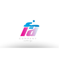 fa f a alphabet letter combination pink blue bold vector image
