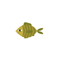 flat green fish icon isolated vector image