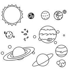flat style solar system planets set vector image
