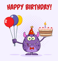 Funny monster holding birthday cake vector