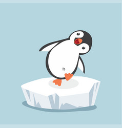 Funny penguin on ice floe vector