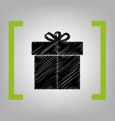 Gift sign black scribble icon in citron vector