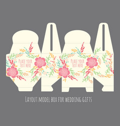 Gift wedding favor box template vector