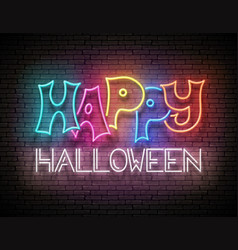 Glow greeting card with happy halloween vector