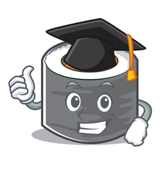 graduation sushi cartoon character style vector image