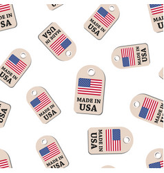 hang tag made in usa with flag seamless pattern vector image