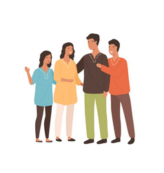 happy indian family in national colored clothing vector image
