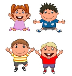 Happy kids cartoon set vector image vector image