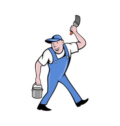 House painter with paintbrush and paint can vector