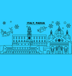 Italy padua winter holidays skyline merry vector