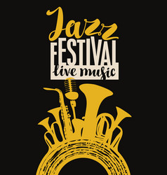 Jazz festival poster with wind instruments and mic vector
