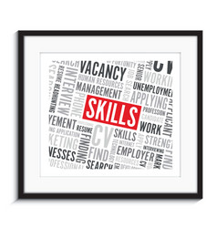 Job skills word background picture frame vector