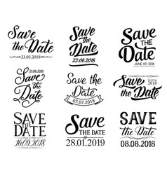Lettering save the date and wedding vector
