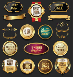 Luxury retro badges gold and silver collection 4 vector