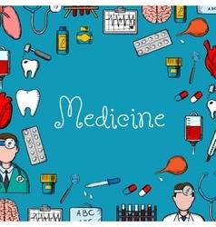 Medicine sketch background with medical symbols vector
