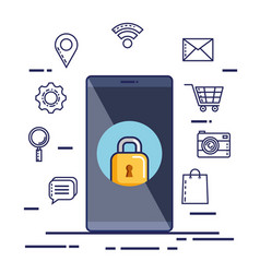 mobile phone security technology social media vector image