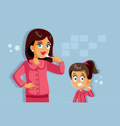 mother and daughter brushing teeth cartoon vector image