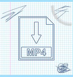 mp4 file document icon download mp4 button line vector image