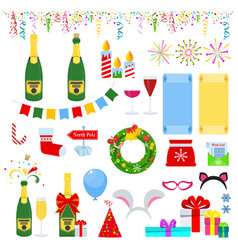 new years eve celebration set of icons vector image