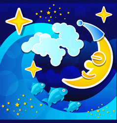 night seascape with full moon and starry sky vector image