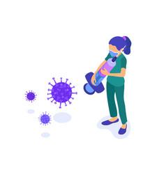 Nurse in mask with syringe stop coronavirus vector