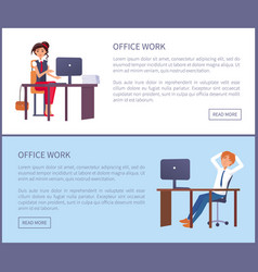 office work poster man resting at workplace vector image