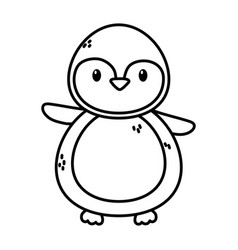 penguin polar animal bird icon thick line vector image